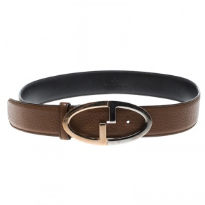 Gucci Brown Pebbled Leather GG Buckle Belt 85cm