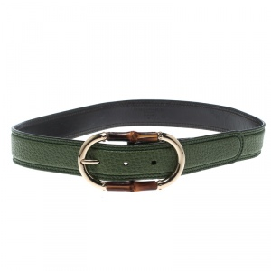 Gucci Green Leather Bamboo Buckle Belt 80cm
