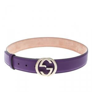 Gucci Purple Leather Interlocking GG Buckle Belt 85cm