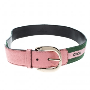 Gucci Pink/Green Fabric and Leather Web Belt 90 CM