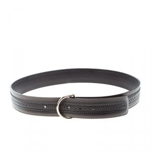 Gucci Dark Grey Leather Brogues Belt 95cm