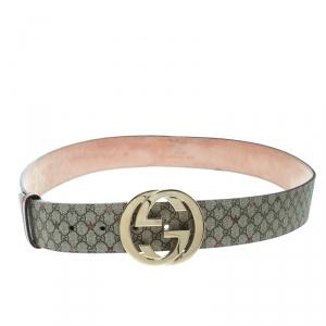 Gucci Beige GG Supreme Star Canvas Interlocking GG Buckle Belt Size 95 CM