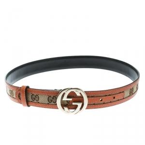 Gucci Beige/Brown GG Canvas and Leather Interlocking GG Buckle Belt 75 CM