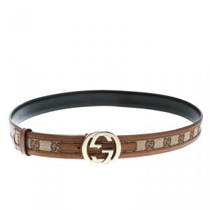 Gucci Beige/Brown GG Canvas and Leather Interlocking G Buckle Belt 95 CM