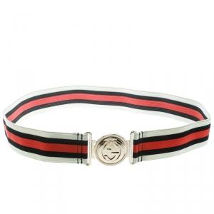 Gucci Tricolor Web Elastic Interlocking GG Buckle Belt 90 CM
