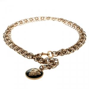 Gucci Crest Charm Gold Tone Double Chain Link Belt