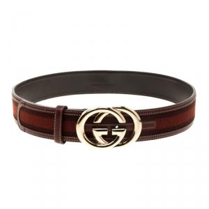 Gucci Orange/Brown Web Fabric Interlocking GG Buckle Belt 85cm