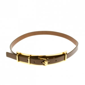 Gucci Gold Plated Brown Leather Belt 90CM