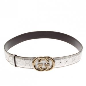 Gucci Silver Guccissima Leather GG Buckle Belt 100 CM