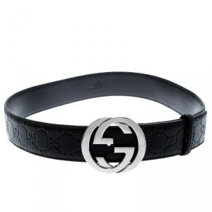Gucci Black Guccissima Leather Interlocking GG Buckle Belt 85CM