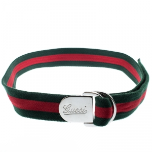 Gucci Green/Red Fabric Web Buckle Belt 95 CM