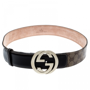 Gucci Beige GG Supreme Coated Canvas and Leather Interlocking GG Buckle Belt 85 CM