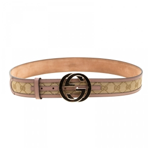 Gucci Beige/Lilac GG Canvas and Leather Interlocking G Buckle Belt 95 CM