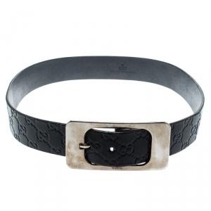 Gucci Black Guccissima Leather Belt Size 85CM