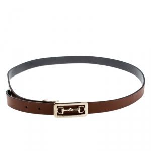 Gucci Brown Leather Reversible Horsebit Belt 100cm