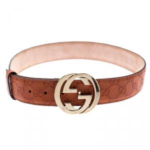 Gucci Burnt Orange Guccissima Leather Interlocking GG Buckle Belt 85CM