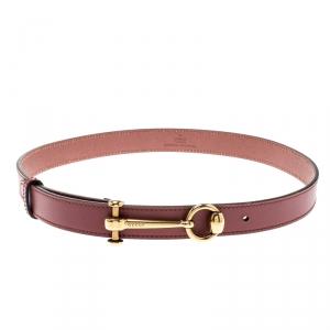 Gucci Burgundy Leather Horsebit Skinny Belt 85CM