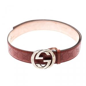 Gucci Copper Guccissima Leather Interlocking GG Buckle Belt 100CM