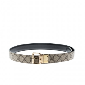Gucci Beige/Black GG Canvas and Leather Reversible Belt