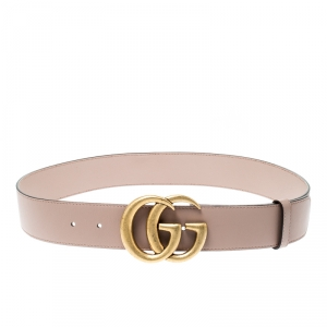 Gucci Nude Pink Leather Double G Buckle Belt 80CM