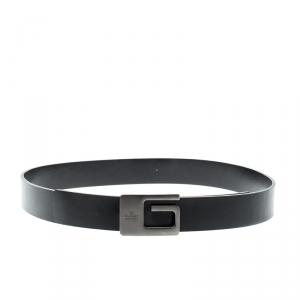 Gucci Black Leather Square G Buckle Belt 75CM