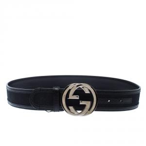 Gucci Black GG Canvas and Leather GG Interlocking Belt 95CM