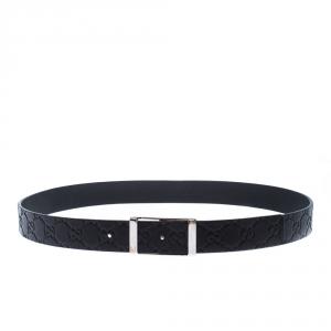 Gucci Black Guccissima Leather Buckle Belt 90CM