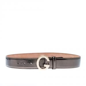 Gucci Metallic Patent Leather G Buckle Belt 85CM