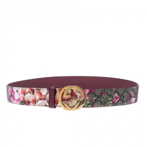 Gucci Multicolor Blooms GG Supreme Canvas and Leather GG Buckle Belt 90CM