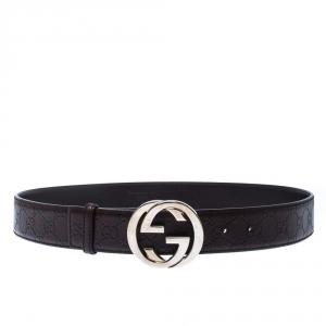 Gucci Dark Brown Guccissima Leather Interlocking GG Belt 95CM