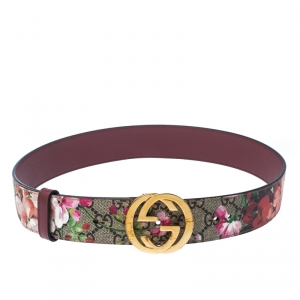 Gucci Multicolor Coated Canvas GG Blooms Belt 80CM