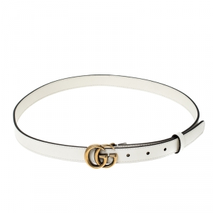 Gucci White Leather Double G Buckle Belt 85CM