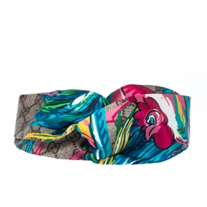 Gucci Multicolor Monogram and Floral Print Silk Twisted Headband