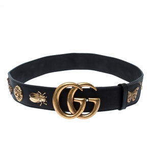 Gucci Black Animal Studs Embellished Leather GG Logo Belt 80CM