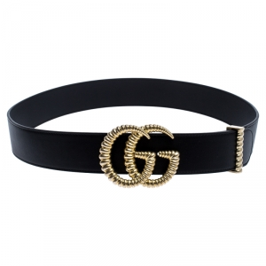 Gucci Black Leather GG Marmont Buckle Belt 90CM