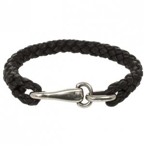 Gucci Brown Leather Woven Bracelet 20 CM