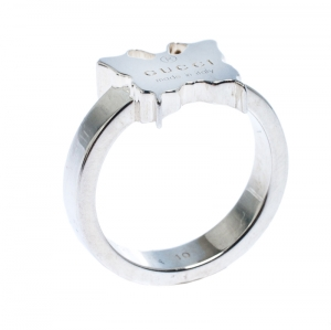 Gucci Butterfly Motif Silver Ring Size 50.5