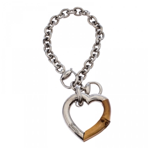 Gucci Bamboo Heart Silver Chain Link Charm Bracelet