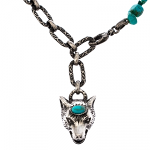 Gucci Turquoise Green Wolf Anger Forest Pendant Antique Silver Tone Necklace