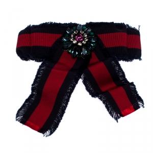 Gucci Crystal Blue & Red Web Grosgrain Frayed Bow Brooch