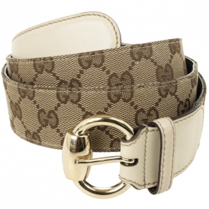 Gucci Beige Guccissima Canvas Belt with Horsebit Buckle 97.5 CM