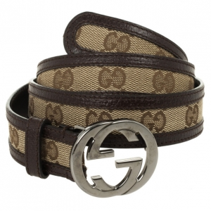 Gucci Guccissima Canvas & Leather GG Buckle Belt 83 CM