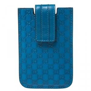 Gucci Blue Microguccissima Leather Phone Case