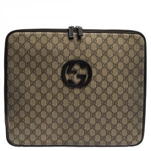 Gucci Beige/Brown GG Supreme Canvas and Leather Interlocking Logo Laptop Case