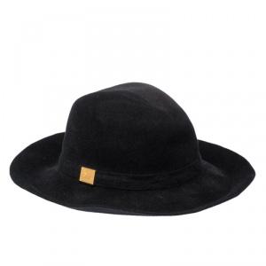 Gucci Black Felted Rabbit Fur Wide Brim Hat L