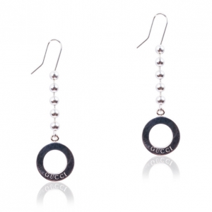 Gucci Silver Round Pendant Earrings