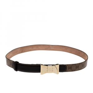 Gucci Brown Guccissima Canvas and Leather Bow Buckle Belt 90 CM