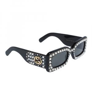 Gucci Black GG0416S Embellished Rectangular Sunglasses