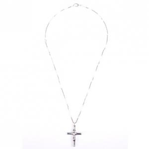Gucci Silver Cross Pendant Bamboo Design