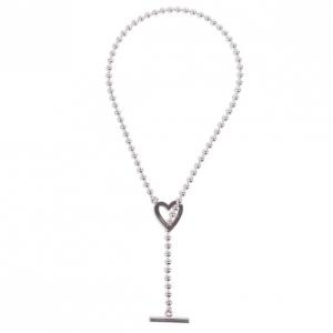 Gucci Heart Motif Toggle Closure Silver Necklace